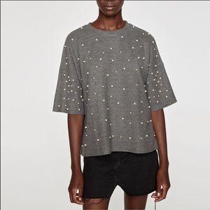 Zara Trafaluc Soft Touch Faux Pearl Sweater